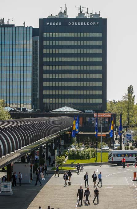 Blick über das Gelände der Messe Düsseldorf