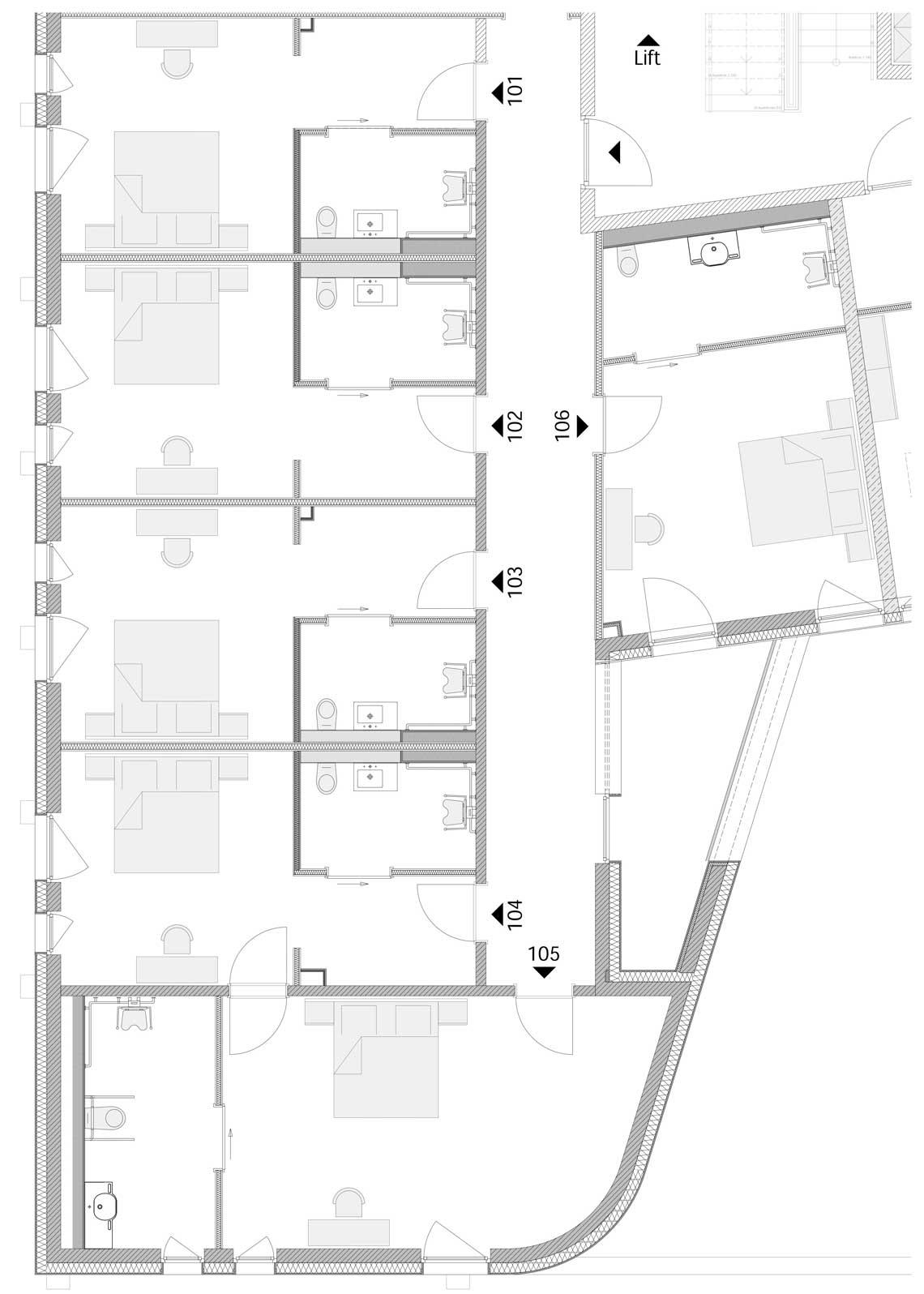 Zimmerplan vom ersten Obergeschoß Hotel Neues Pastorat